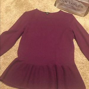 Ann Taylor Merlot peplum sweater